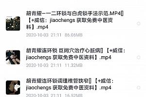 胡青耀一病一锁连环锁疗法视频教程百度网盘下载